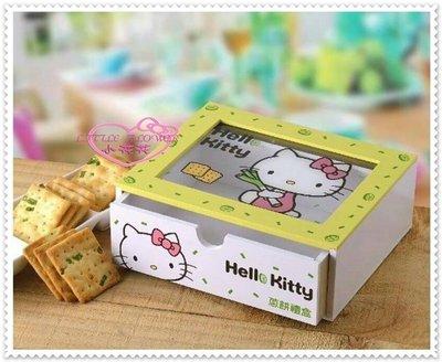 小花花日本精品♥ Hello Kitty  蔥餅禮盒 附木製盒 飾品盒 12027705