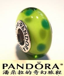 潘朵拉絕版品{{潘朵拉的奇幻旅程}} PANDORA Green polka dots 綠色圓點 790613