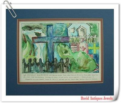((天堂鳥)) 西洋國外教堂水彩畫原作#327