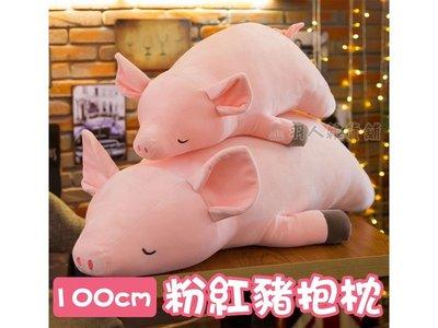 【現貨】100cm 粉紅豬抱枕 趴趴豬 迷你豬 豬公仔 情人節 聖誕節 生日 交換禮物 療癒 可愛玩偶 靠枕