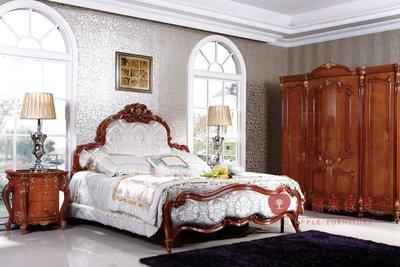 [紅蘋果傢俱] A314A 艾廷軒系列 頂級進口 歐式 法式  新古典 金箔雕花 彩繪 床台 雙人床 加大床 床組