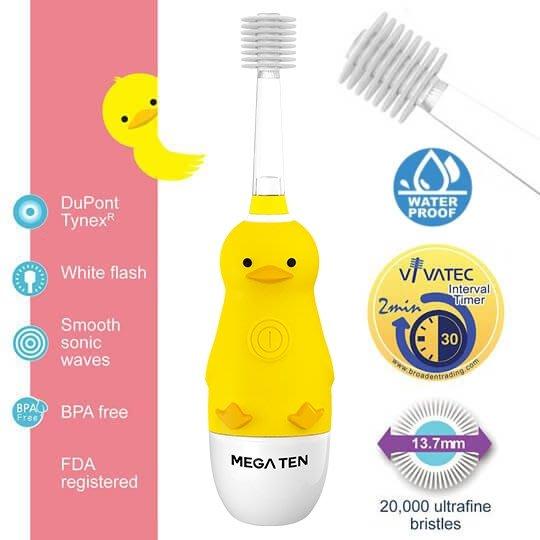 【頂級款】日本 VIVATEC Mega Ten 360度 幼童電動牙刷-小鴨