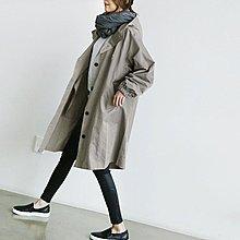 M SELECT 衝評價 超好看 韓版 連帽風衣 排釦長版大衣 風衣外套 風衣 卡其/黑 高CP值挺版顯瘦