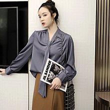 『 筱涵 日系美學衣飾 』通勤系優等生 含10%醋酸 垂感出眾顯瘦飄帶領巾小寬松襯衣