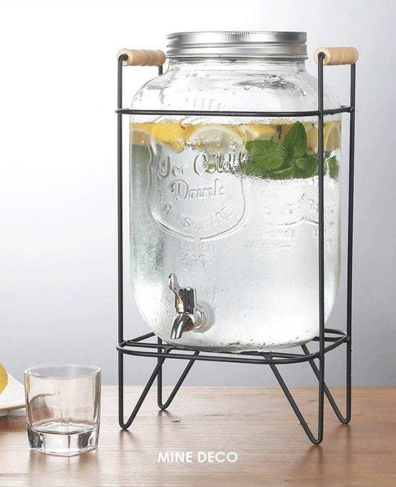 【MINE DECO】【5L+鐵架+不銹鋼龍頭】飲料桶/Mason瓶/玻璃瓶/冷飲瓶/梅森杯/果汁桶(現貨)M0166
