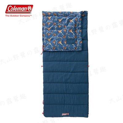 【大山野營】Coleman CM-34773 COZY II 海軍藍睡袋/C10 信封型睡袋 全開式 纖維睡袋 露營睡袋