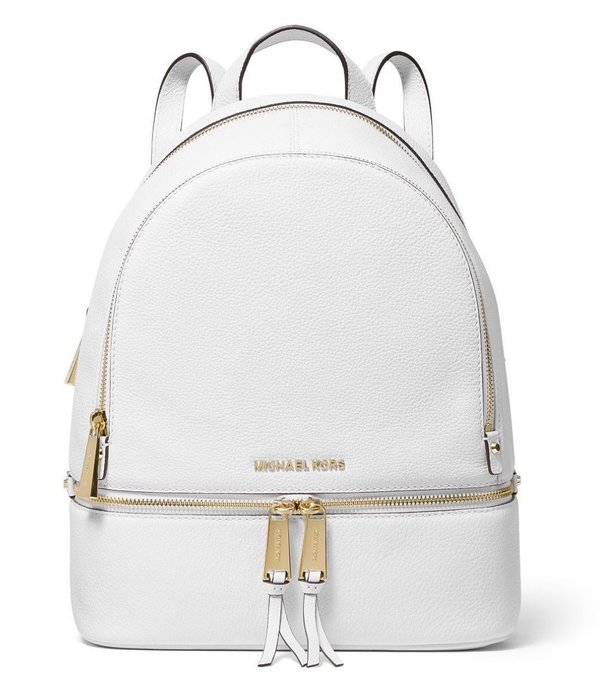 Coco 小舖 Michael Kors Rhea Zip Small Backpack 白色皮革後背包