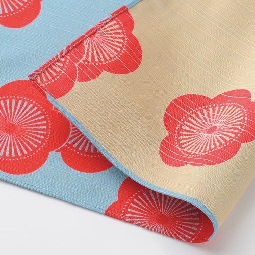 《散步生活雜貨-和雜貨散步》日本製 伊砂文樣 和雜貨 48x48cm 兩面色 風呂敷巾 包巾 大方巾-梅(藍+淺棕)