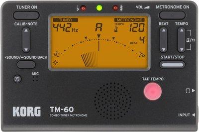 【華邑樂器70019-1C】KORG TM-60C 二合一調音節拍器-黑色+原廠音夾 (TM50改款 調音器+節拍器
