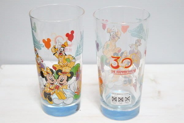 天使熊小鋪~東京迪士尼帶回35週年限定米奇玻璃杯 米妮彩繪水杯 牛奶杯~原價1200