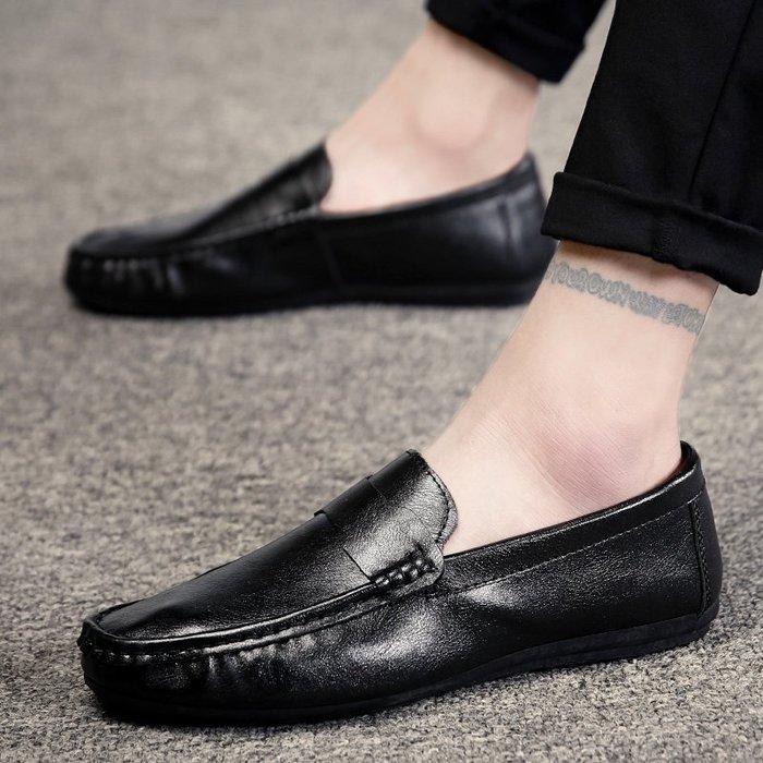 春季韓版潮鞋社會小伙豆豆鞋男鞋子純黑色懶人鞋一腳蹬休閑皮鞋男