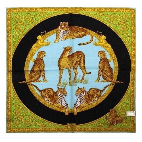 【姊只賣真貨】VERSACE 凡賽斯 古典藝術華麗猛獸領帕巾(藍底黑圈色)