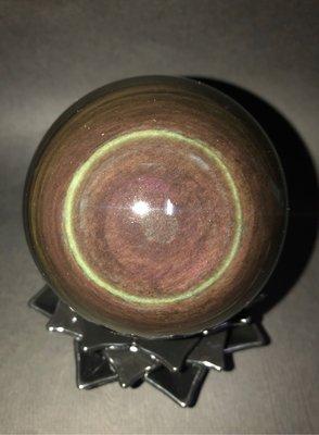 天然極品彩虹黑曜球,9.2公分,雙彩眼,頂級收藏,極致品相,長金珠寶藝品
