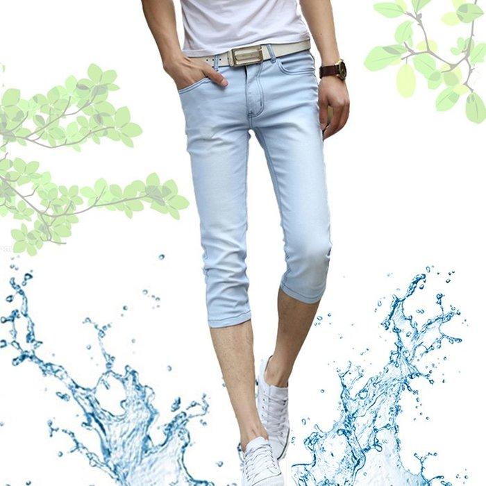 〖免運〗七分短褲韓版修身彈力馬褲設計款牛仔褲 『比比熊』