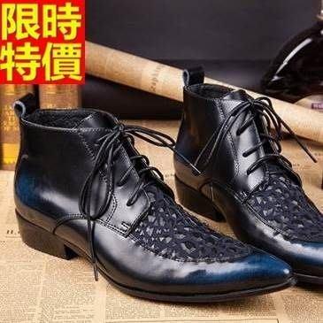 尖頭鞋 真皮皮鞋-個性擦色繫帶英倫低跟男鞋子65ai43[獨家進口][米蘭精品]