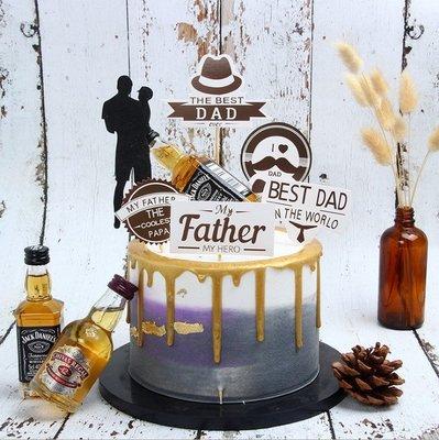 生日蛋糕裝飾父親節快樂插牌 黑色系 爸爸禮節禮帽生日裝飾插件!三件起購 !訂單滿200起發貨噢~~
