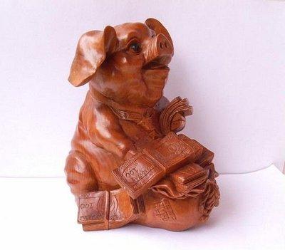 小風鈴~天然木雕美金豬擺件*十二生肖豬擺件