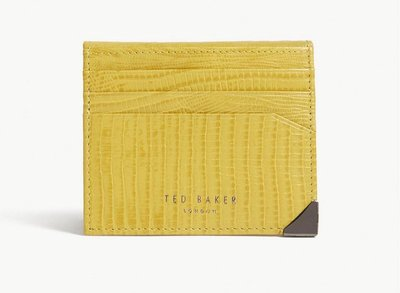 英國TED BAKER Lizard-embossed leather card holder 多功能卡夾(黃)(預購)
