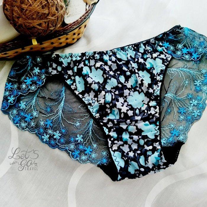 * 低腰內褲 *❉︵ 和風網紗花卉刺繡 印花 低腰內褲 ︵❉2色。Let's Go lulu's。AC82