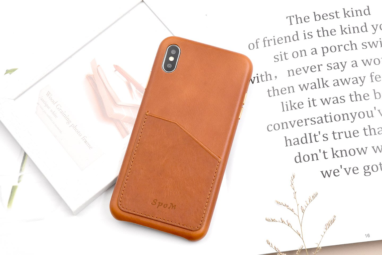 IPhone XS Max XR 8 7 Plus 單插卡頭層牛皮真皮 保護殼手機殼背蓋保護套 SpoM皮套