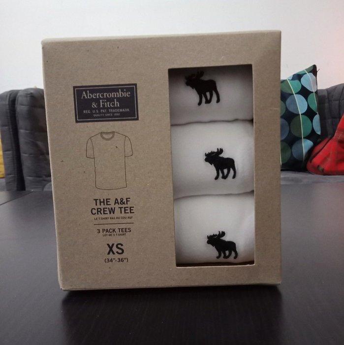 【BJ.GO】 Abercrombie & Fitch_ 3-PACK ICON CREW TEE 麋鹿LOGO圓領T恤