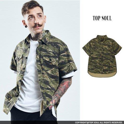 外搭 襯衫外套 軍裝 滿版虎斑迷彩短袖襯衫 .TOP SOUL【BTY2152】