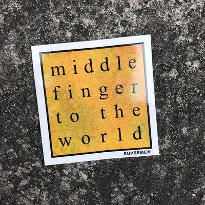 車庫服飾 - - 現貨 SUPREME MIDDLE FINGER TO THE WORLD 貼紙 黃色