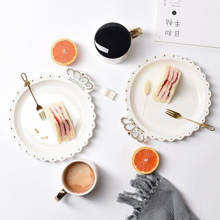MAJ.POINT-皇冠描金陶瓷盤碟 北歐創意料理 貴婦下午茶 義大利麵早餐沙拉甜點牛排鬆餅 廚房用品 婚宴野餐日韓代購
