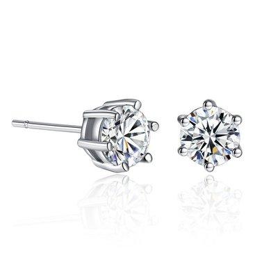 +(直購價非活動價)EOS 時尚精品 品牌經典款簡約六爪CZ鑽石耳環 限量款  設計師款/新品)鑽石項鍊鑽戒特價衝評價