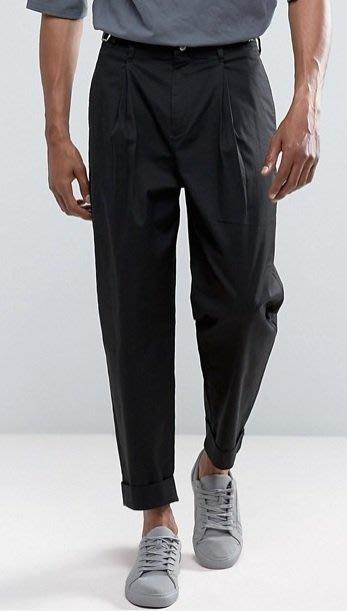 ◎美國代買◎ASOS打摺褲面反摺褲口金屬扣腰線復古英倫時尚街風打摺中高腰九分西裝褲~歐美街風~大尺碼