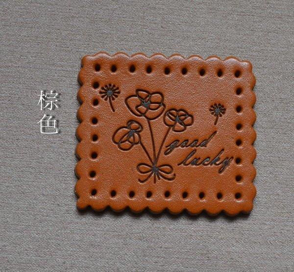 *巧巧布拼布屋*台灣製縫式~蒲公英真皮皮標-~自然風手作材料 / 裝飾材料 /皮片/~ 棕色.咖啡色.本皮色..共3色~