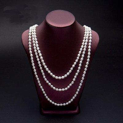 [C.M.平價精品館]160cm 7-8mm典雅美麗白色米形淡水珍珠項鏈  強光微瑕 高雄市