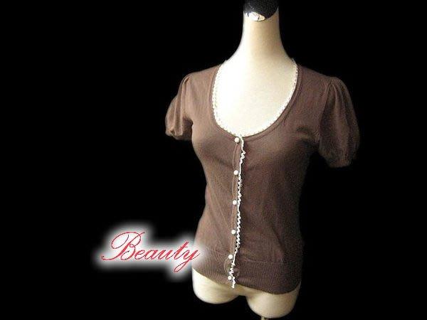 *Beauty*Barbie咖啡色蕾絲滾邊針織衫外套  罩衫 PH