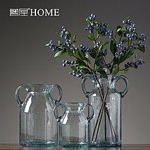 〖洋碼頭〗透明玻璃氣泡雙耳花瓶現代簡約客廳餐廳插花花器創意家居軟裝擺設 ywj370