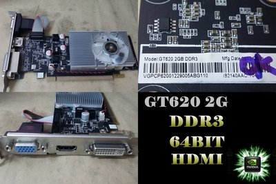 【 大胖電腦 】nVIDIA GeForce GT620 2G 顯示卡/HDMI/64BIT/DDR3 直購價400元