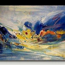 【 金王記拍寶網 】U971 朱德群 款 抽象 手繪原作 厚麻布油畫一張 罕見 稀少 藝術無價~