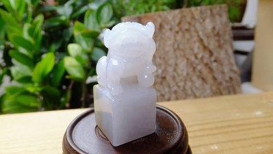 海叔。緬甸玉A貨 冰種密糖彩 純手工雕刻 獅印 擺件配件皆宜
