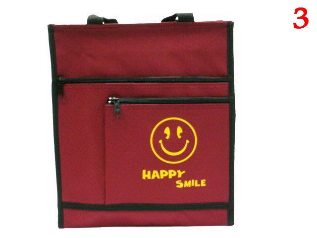 【菲歐娜】6371-3-(特價拍品)微笑圖形,補習袋,A4資料袋,手提袋(酒紅) 台灣製作