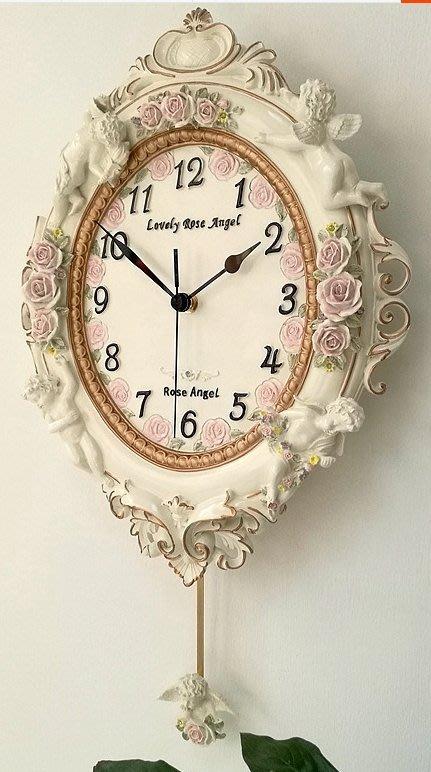 《宇煌》歐式田園藝術掛鐘客廳天使臥室牆面掛錶裝飾靜音創意樹脂壁鐘