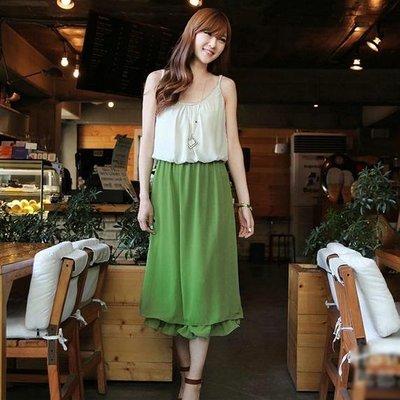 韓版二色拼接雙層雪紡長款連衣裙 J-11533
