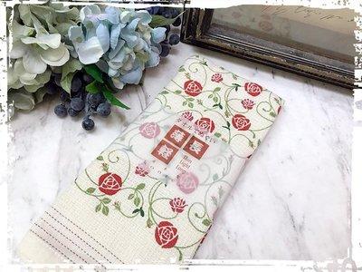 *阿布捲捲鄉村雜貨*日本帶回 Kontex 今治  浪漫玫瑰 薄 輕 長 純棉毛巾 長巾-日本製