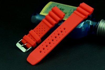 高質感20mm紅色蛇腹式矽膠潛水錶帶,替代原廠貨citizen星晨seiko精工原廠錶帶