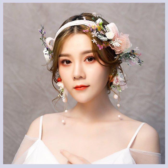 現貨供應(6810A6)小資平價禮服坊-森系甜美花朵蝴蝶結髮帶髮箍
