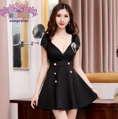 莎芭 性感洋裝 胖MM低胸顯瘦大尺碼夜場工作服 連身裙 小禮服