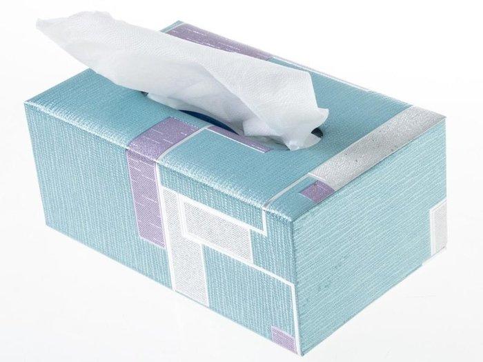 歐式抽取式面紙盒 皮革面料衛生紙盒 – 中 – 簡約藍 ZA-42369