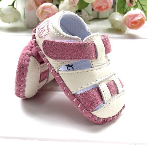 寶貝倉庫- 真皮-粉色休閒包頭涼鞋-寶寶鞋-娃娃鞋-童鞋-嬰兒鞋-磨砂底-德國設計-粘扣設計-彌月禮-促銷價1雙220