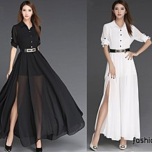 〔靚衫〕名媛大擺雪紡襯衫領捲袖長洋裝裙.配腰帶(黑/白6108)現貨S.M.L.XL.2XL快速出貨