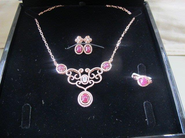 二手舖 NO.737(天然紅寶石) 純銀925 玫瑰金 鑲鑽 項鍊+耳環 戒指 蛋面 手飾 飾品 原價打75折