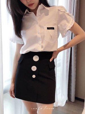 PapaDarling 20SS 歐美設計師品牌 時尚百搭大小鈕扣設計高腰 短裙 米色 黑色
