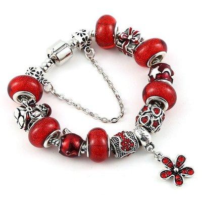 「還願佛牌」泰國 佛牌 潘朵拉 風格 串珠 手鏈 搭配 路翁 露翁 佛牌 紅色 花朵